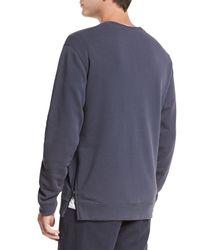 Vince - Blue Side-zip Crewneck Sweater for Men - Lyst