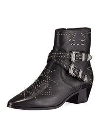Frye - Black Women's Ellen Western Studded Mid-heel Booties - Lyst