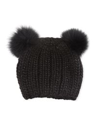 Eugenia Kim | Black Mimi Tonal Double Fur Pompoms Beanie Hat | Lyst