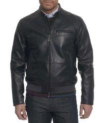 Robert Graham | Black Massena Leather Bomber Jacket for Men | Lyst