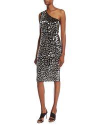 Michael Kors - Black Metallic Leopard-embroidered One-shoulder Dress - Lyst