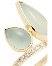 Jacquie Aiche - Metallic 14-karat Gold, Aquamarine And Diamond Ring Gold 7 1/2 - Lyst