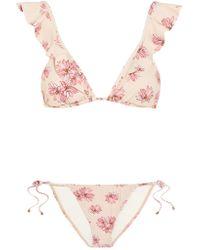 Eberjey | Pink Flying Lotus Ruffled Floral-print Triangle Bikini | Lyst
