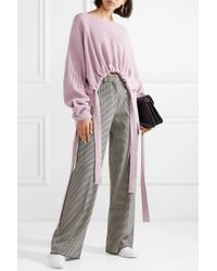 Stella McCartney - Purple Gathered Asymmetric Ribbed Cashmere And Wool-blend Sweater - Lyst
