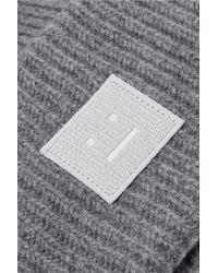 Acne - Gray Pansy Appliquéd Ribbed Wool Beanie - Lyst