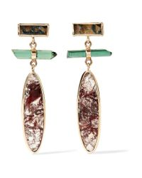 Melissa Joy Manning - Metallic 14-karat Gold, Sterling Silver, Agate And Tourmaline Earrings - Lyst
