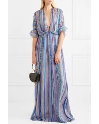 Matthew Williamson - Blue Saya Stripe Silk-chiffon Maxi Dress - Lyst