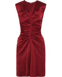 Isabel Marant   Red Esta Ruched Satin Dress   Lyst