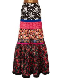 069c9fa337ea Ronald Van Der Kemp. Women s Black Tiered Embroidered Tulle And Floral-print  ...