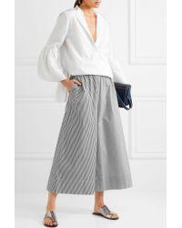 Tibi | Black Cropped Striped Cotton-poplin Wide-leg Pants | Lyst