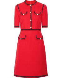Gucci - Red Grosgrain-trimmed Wool And Silk-blend Cady Mini Dress - Lyst