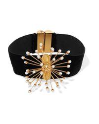 Ellery - Black Rainbow Wheels Velvet, Gold-plated And Pearl Choker - Lyst