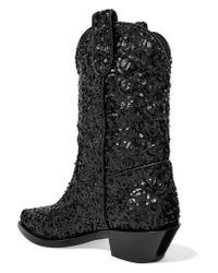 Dolce & Gabbana - Black Sequined Leather Ankle Boots - Lyst