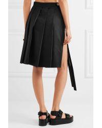 Miu Miu - Black Pleated Cotton Skirt - Lyst