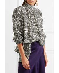 Valentino - Black Pussy-bow Printed Silk Crepe De Chine Blouse - Lyst