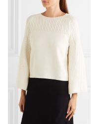 Oscar de la Renta | White Pointelle-trimmed Cable-knit Wool Sweater | Lyst