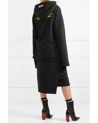 Vetements | Black Hooded Embroidered Cotton-blend Jersey Midi Dress | Lyst