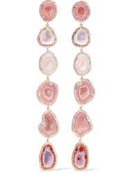 Kimberly Mcdonald - Pink 18-karat Rose Gold, Geode And Diamond Earrings - Lyst