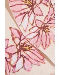 Eberjey - Pink Flying Lotus Ruffled Floral-print Triangle Bikini - Lyst