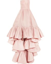 Reem Acra - Pink Asymmetric Ruffled Silk-crepe Gown - Lyst