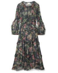 Zimmermann - Gray Iris Ruffled Floral-print Silk-crepon Midi Dress - Lyst