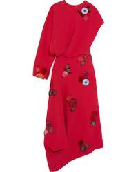 Roksanda - Red Cassia Embellished Asymmetric Crepe Maxi Dress - Lyst