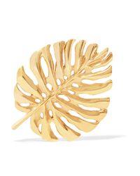 Oscar de la Renta - Metallic Monstera Leaf Gold-plated Brooch - Lyst