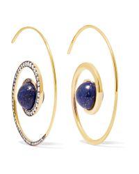 Noor Fares | Metallic Spiral Moon 18-karat Gold, Diamond And Lapis Lazuli Earrings | Lyst