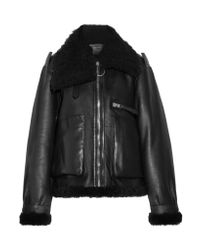 Acne - Black Lore Shearling-lined Leather Coat - Lyst