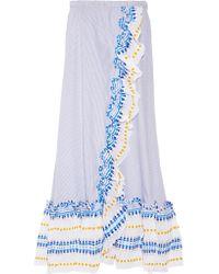 Lemlem - Blue Mwali Convertible Gauze-trimmed Striped Cotton-blend Dress - Lyst