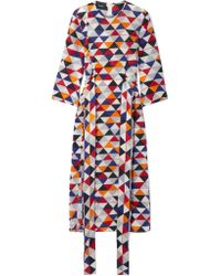 Akris - Gray Printed Silk-crepe Midi Dress - Lyst