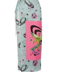 Miu Miu - Blue Printed Cotton-voile Skirt - Lyst