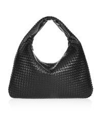 Bottega Veneta | Black Maxi Veneta Intrecciato Leather Shoulder Bag | Lyst