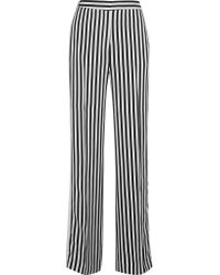 Victoria, Victoria Beckham - Black Striped Satin-twill Wide-leg Pants - Lyst
