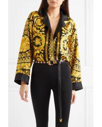 Versace - Black Embellished Leather Belt - Lyst