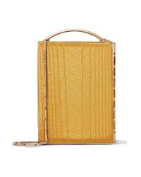 Eddie Borgo - Yellow Mak Cotton-moire And Leather Shoulder Bag - Lyst