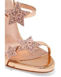 Giuseppe Zanotti - Pink Coline Crystal-embellished Appliquéd Metallic Leather Sandals - Lyst