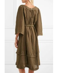Three Graces London - Green Ilara Pompom-embellished Linen-blend Dress - Lyst
