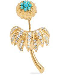 Yvonne Léon - Metallic 18-karat Gold, Diamond And Turquoise Earring - Lyst