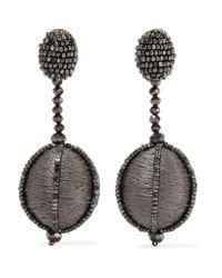 Oscar de la Renta | Gray Silk And Bead Clip Earrings | Lyst