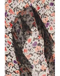 Anna Sui - Pink Scattered Flowers Point D'esprit-trimmed Floral-print Silk-chiffon Midi Skirt - Lyst