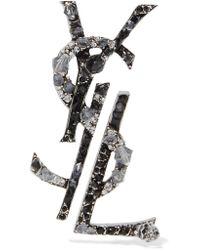 Saint Laurent - Metallic Ruthenium-plated, Crystal And Enamel Clip Earrings - Lyst