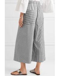 Tibi - Black Cropped Striped Cotton-poplin Wide-leg Pants - Lyst