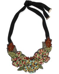 Etro - Green Silver-tone, Crystal, Bead And Felt Necklace - Lyst