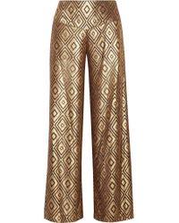 Anna Sui | Metallic Devoré-chiffon Wide-leg Pants | Lyst