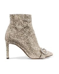 Jimmy Choo - Metallic Hanover 85 Crystal-embellished Glittered Leather Ankle Boots - Lyst