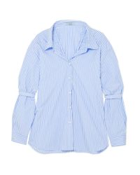 Prada - Blue Oversized Striped Cotton-poplin Shirt - Lyst