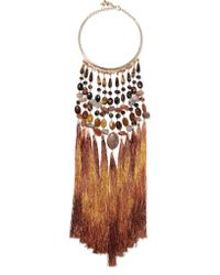 Rosantica - Brown Rum Tasseled Gold-tone Beaded Necklace - Lyst