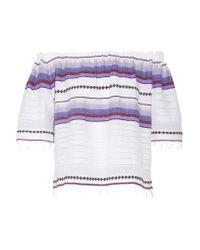 Lemlem | Purple Adia Off-the-shoulder Striped Cotton-blend Gauze Top | Lyst