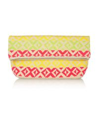 Sophie Anderson | Pink Abril Leather-trimmed Crocheted Cotton Clutch | Lyst